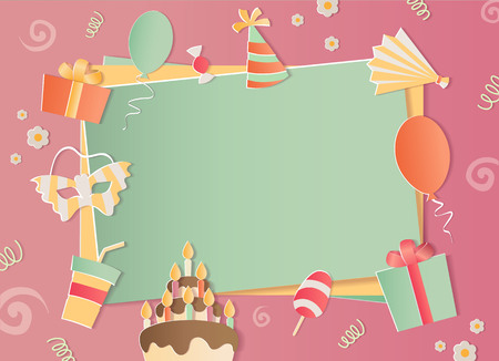Happy Birthday photo frame. A realistic image that simulates paper. Aspect ratio photography 3:2. For ? girls.