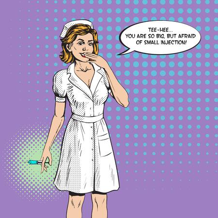 看護師は、注射シリンジ薬健康薬を与え、患者に言います。レトロなスタイル。  イラスト・ベクター素材