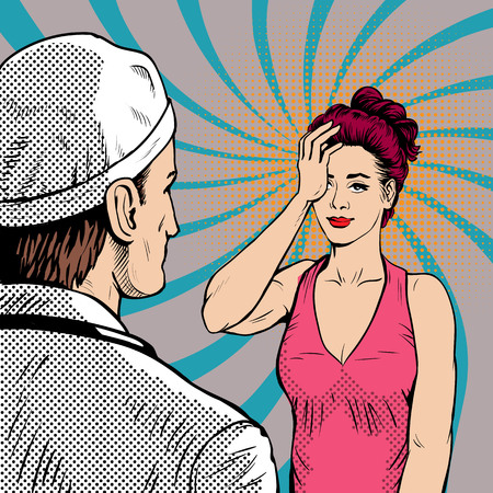 Doctor with woman patient at the reception. Women have poor health. Headache. Retro style, pop art.