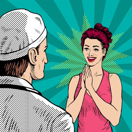 Doctor with woman patient at the reception. A woman enjoys a good diagnosis. Retro style, pop art.