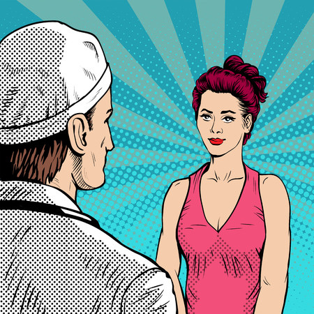 Doctor with woman patient at the reception. Retro style, pop art.