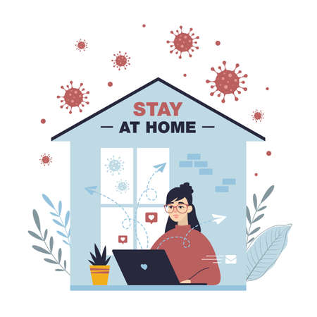 Stay home concept. Girl in glasses work on laptop at home. Coronavirus Covid-19 outbreak. Freelancer keeps social distancing. Quarantine health care banner. Trendy flat vector illustration. Ilustração