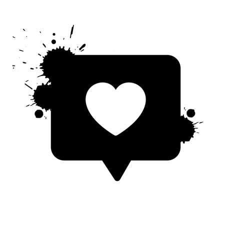 Vector like icon. Social media notification. Llike notification. Grunge style ink drops