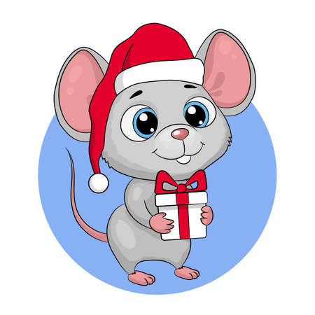 Cute cartoon mouse mouse in a santa hat with a gift. New Year greeting card, vector illustration