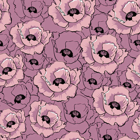 Vector pink poppy flowers. Hand drawn seamless pattern. Wild flowers color illustration. Floral texture. Wallpaper, digital paper, wrapping paper, textile design. 矢量图像