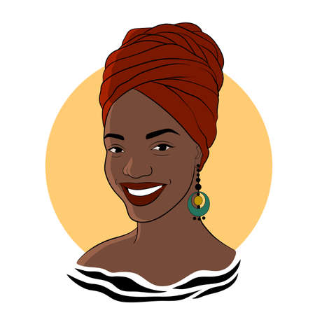Black woman. Afro American girl in а red turban. Fashion vector Illustration