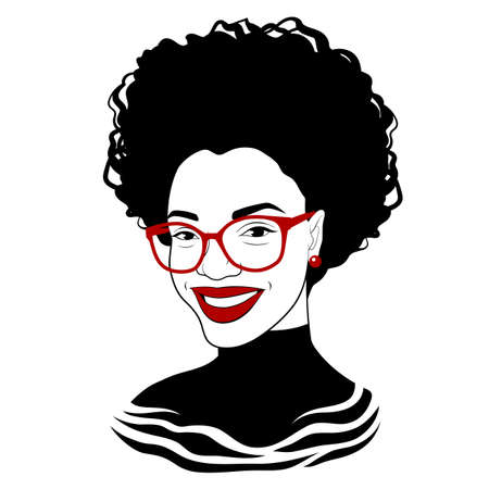 Black girl in fashionable glasses. Fancy black lady. Pretty african american woman. Vector illustration Illustration