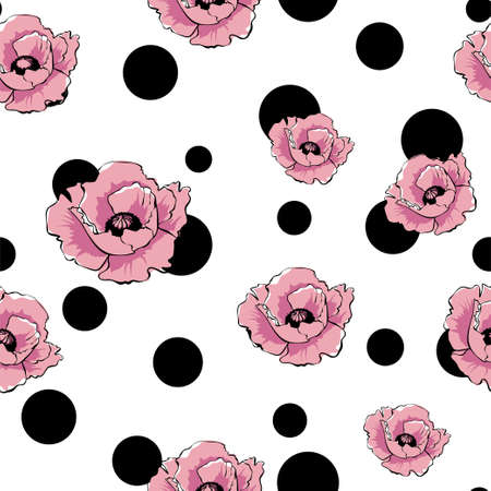 Vector pink poppy flowers and black dots. Art floral seamless pattern. Hand drawn retro texture for design, textile, wallpaper, wrapping 矢量图像