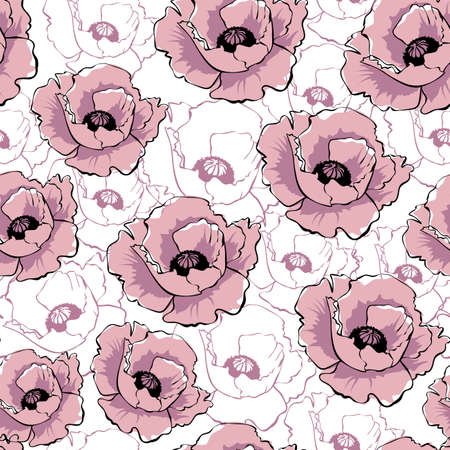 Vector pink poppy flowers on white background. Hand drawn seamless pattern. Wild flowers color illustration. Floral texture. Wallpaper, digital paper, wrapping paper, textile design.