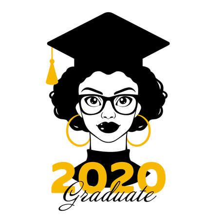 Graduate 2020. Graduation 2020. Senior 2020. Class of 2020. Black woman. Black girl in a graduation cap. College graduation. High school graduation. Vector clipart