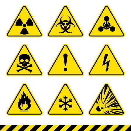 Warning signs set. Danger icons. Radiation sign. Biohazard sign. Toxic sign. Nuclear symbol. Flammable symbol. Attention signs.