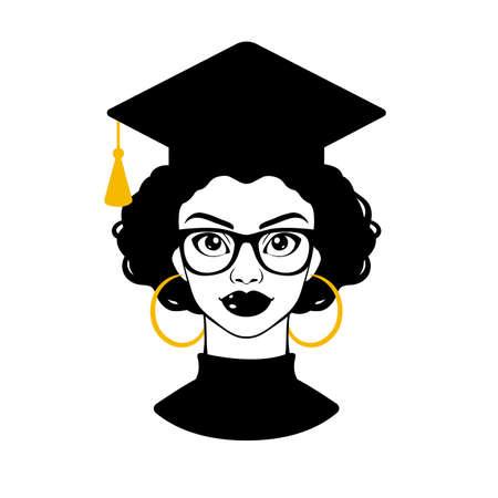 Graduate 2020. Graduation 2020. Senior 2020. Class of 2020. Black woman. Black girl in a graduation cap and glasses. College graduation. High school graduation. Vector clipart