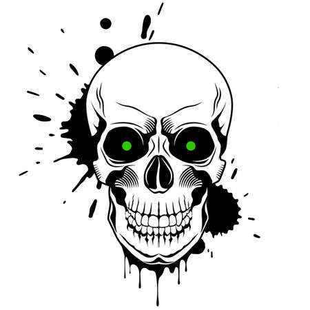 Skull with green glowing eyes, and splashes and drips of paint on white background. Grunge vector illustration