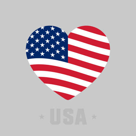 Heart with american flag. Flag of the USA, Independence day. Vector illustration