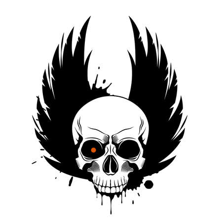Vector skull with glowing eye, crown wings and paint splashes and drips on white background. Grunge vector illustration