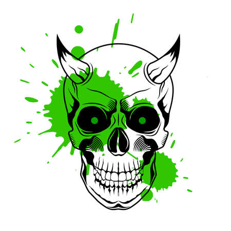 Skull with horns, green glowing eyes, and paint splashes of paint on white background. Grunge vector illustration