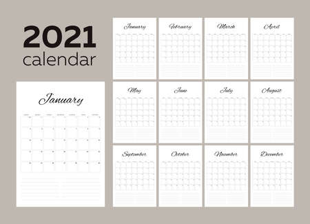 2021 monthly calendar. Modern minimalistic black and white calendar-planner. Week starts on Sunday. Notes on every day and every month