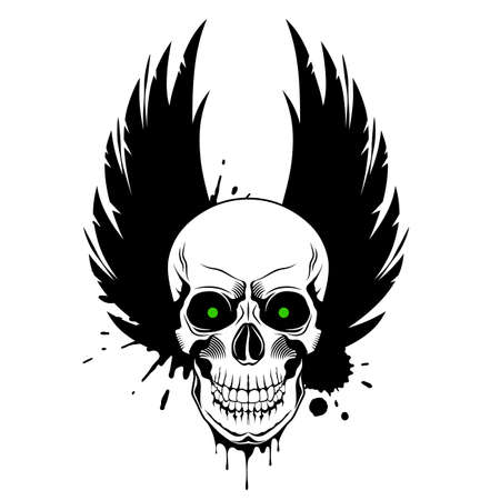 Skull with green glowing eyes, crown wings and paint splashes on white background. Grunge vector illustration Illusztráció
