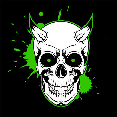 Skull with horns, green glowing eyes, and paint splashes on black background. Grunge vector illustration Illusztráció