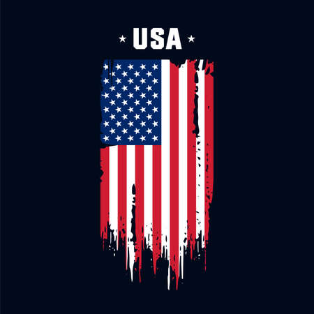 Flag of the USA, the United States of America. Vector illustration in grunge style.