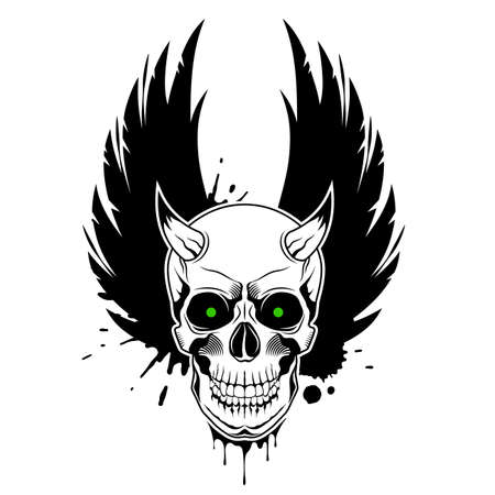 Vector skull with horns, green glowing eyes, crown wings and paint splashes in the background. Grunge vector illustration Illusztráció