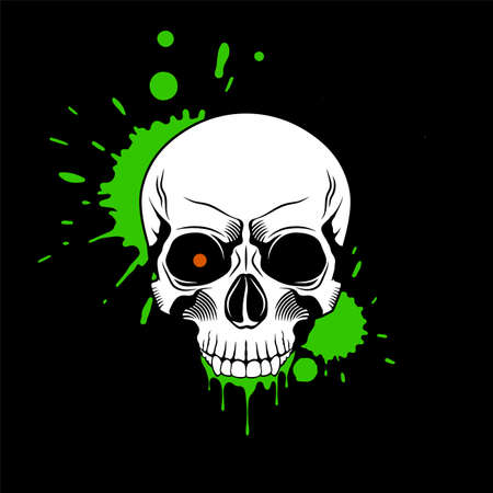 Skull with red glowing eye, and splashes and drips of green paint on black background. Grunge vector illustration