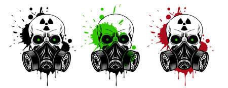 Vector skulls set with gas mask, radiation sign, glowing eyes and paint splashes and drips on white background. Grunge vector illustration Illusztráció