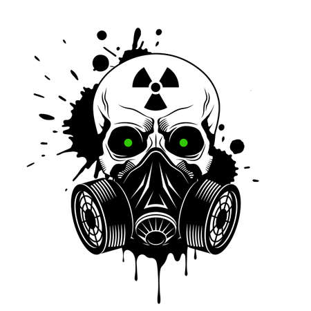 Vector skull with gas mask, radiation sign, glowing eyes and paint splashes and drips on white background. Grunge vector illustration Illusztráció
