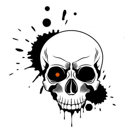 Skull with red glowing eye, splashes and drips of paint on white background. Grunge vector illustration Illusztráció