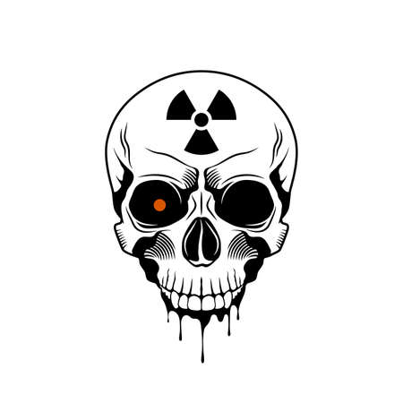 Human skull with radiation sign. Grunge print template. Vector illustration Illusztráció
