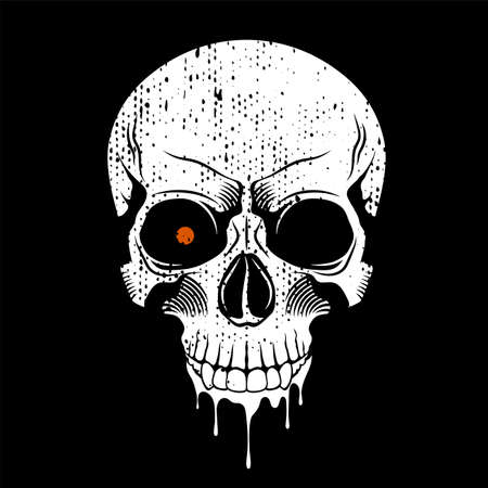 Human skull with red eye. Grunge print template. Vector illustration
