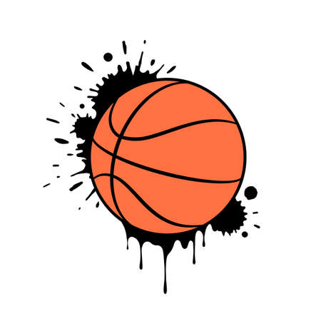 Grunge basketball ball design with paint splashes and drops. Vector illustration