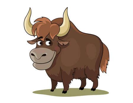 Cartoon yak. Cute cartoon bull. Symbol of 2021. Vector illustration