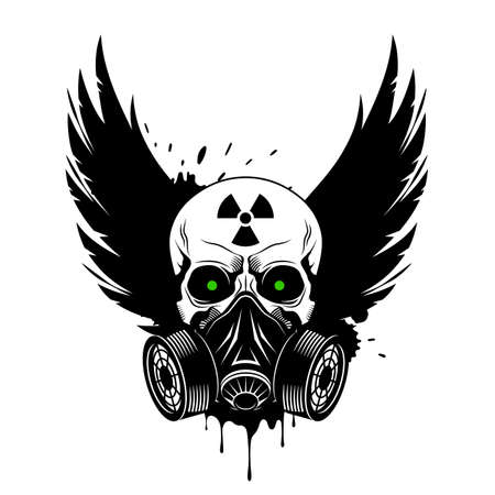 Vector skull with gas mask, crown wings, radiation sign and glowing eyes. Grunge vector illustration