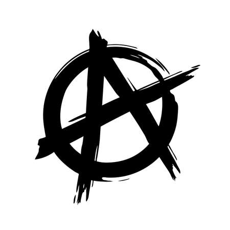 Grunge brush painted anarchy sign isolated on a white background. Anarchy icon. Vector illustration