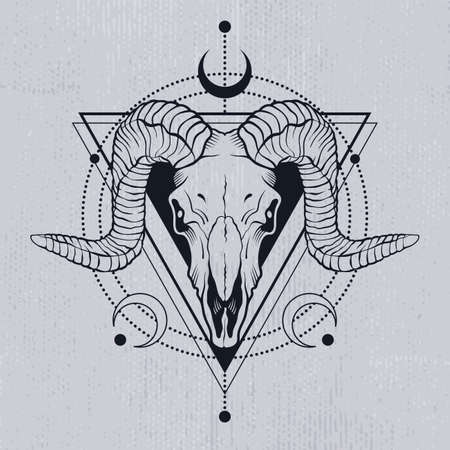 Ram skull outline with decorative elements. Tatoo sketch or t-shirt printing. Vector illustration.