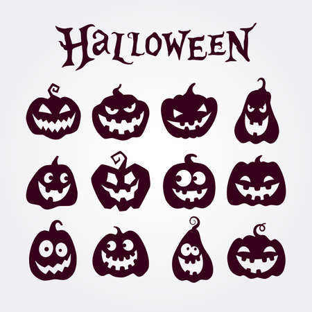 Cute Halloween pumpkins set. Pumpkin icons. Silhouettes of smiling pumpkins. Cartoon vector illustration Illusztráció
