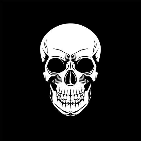Vector skull icon, skull silhouette on black background