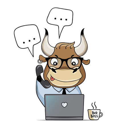 Ð¡ute bull works in the office with a laptop. Cartoon bull answers calls and messages. Symbol of 2021. Vector illustration