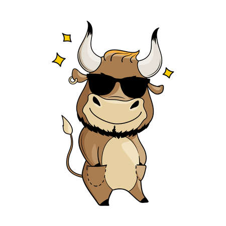 Cool cartoon bull in sunglasses, hands in pockets. Symbol of 2021. Vector illustration Illusztráció