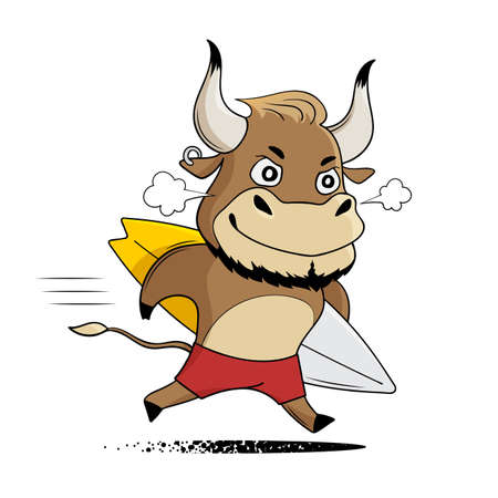 Cartoon bull running with surfboard. Cute bull enjoys summer vacations. Symbol of 2021. Vector illustration