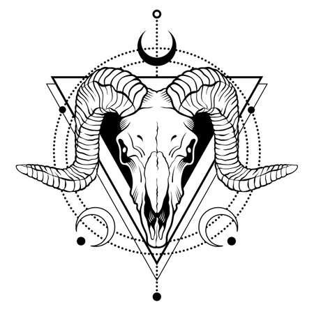 Ram skull outline with decorative elements. Tatoo sketch or t-shirt printing. Vector illustration isolated on white background.