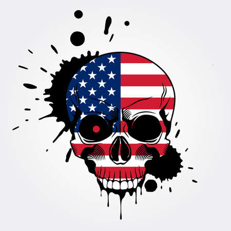 Grunge skull in colors of American flag. Vector illustration