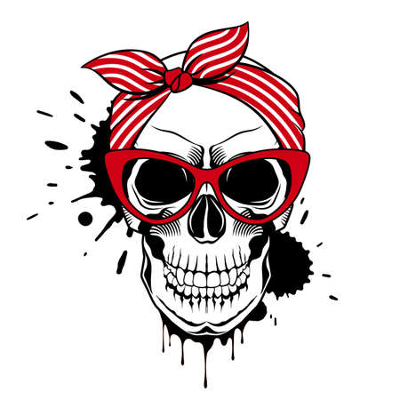 Vector skull in red cat eye glasses, striped bandana and ink drops. Trendy vector illustration.