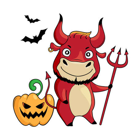 Cool bull wears red halloween outfit. Cartoon happy halloween cute bull with pumpkin, bats and trident. Symbol of 2021. Year of the ox. Vector illustration Illusztráció