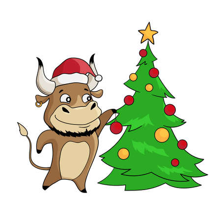 Cool bull in a santa hat decorating Christmas tree. Symbol of 2021. Vector illustration Illusztráció