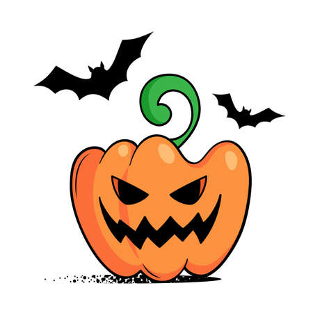 Pumpkin with smile and bats. Catroon pumpkin lantern. Halloween vector illustration Illusztráció