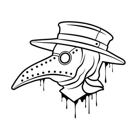 Plague doctor mask outline. Steampunk mask with beak. Vector clipart Illusztráció