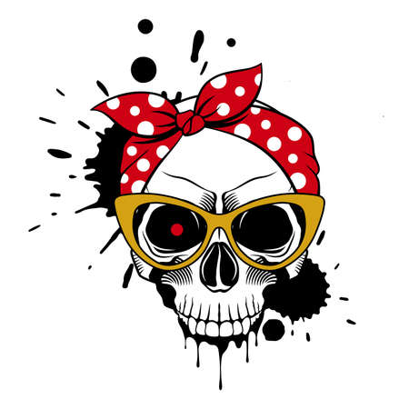 Female skull in a bandana, fashionable glasses, and drips of paint. Grunge vector illustration Illusztráció