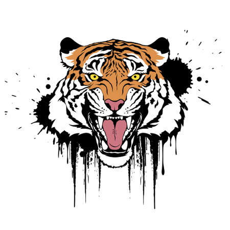 Roaring tiger. Claws scratches. Colorful vector illustration on white background. T-shirt design Illusztráció
